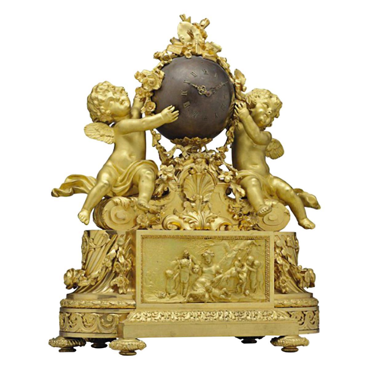 Napoleon III Ormolu and Patinated Bronze Figural Mantel Clock