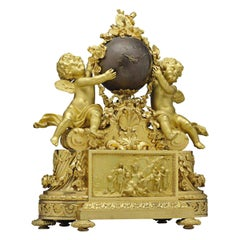 Napoleon III Ormolu and Patinated Bronze Figural Mantel Clock