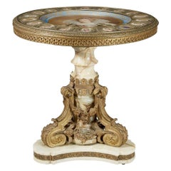 Napoleon III Ormolu-Mounted Onyx Center Table with Sèvres-style Porcelain Plaque
