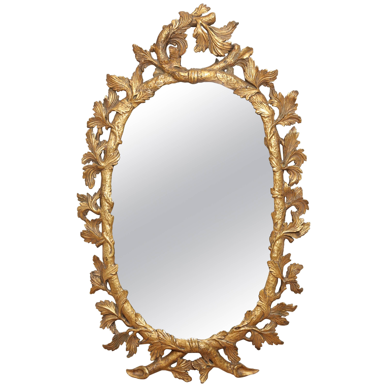 Napoleon III Oval Gilt Mirror