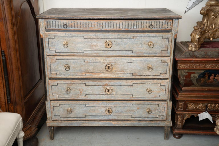 Beautiful painted and carved 19th century commode.