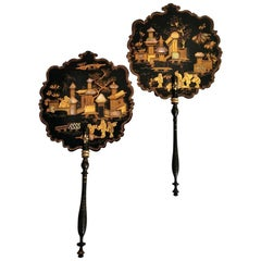 Napoleon III Pair of French Fans Chinoiserie