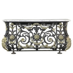 Napoleon III Period Cast Iron Marble-Top Console