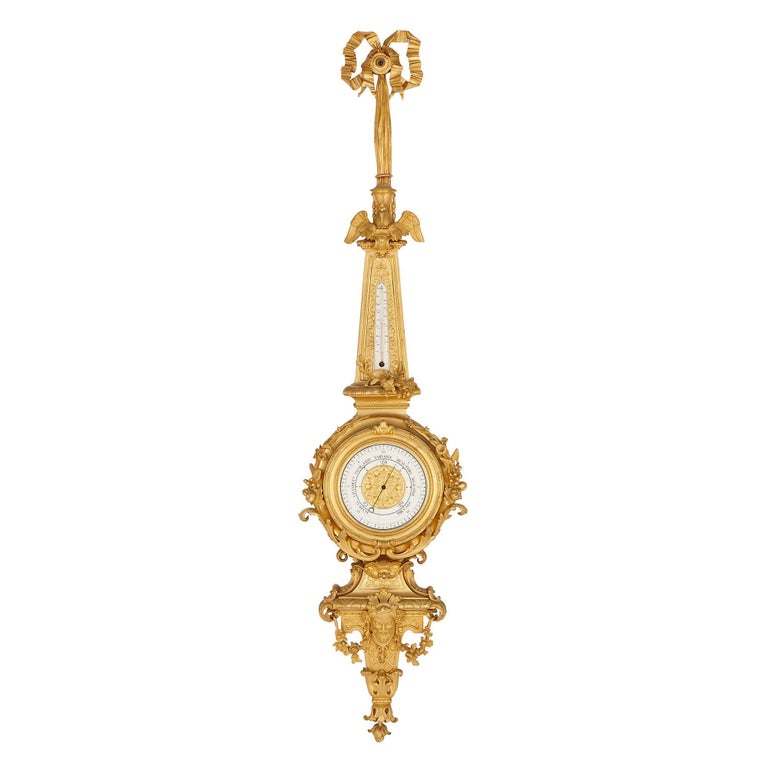 French Napoleon III Period Gilt Bronze Clock and Barometer, Attributed to Raingo Frères For Sale