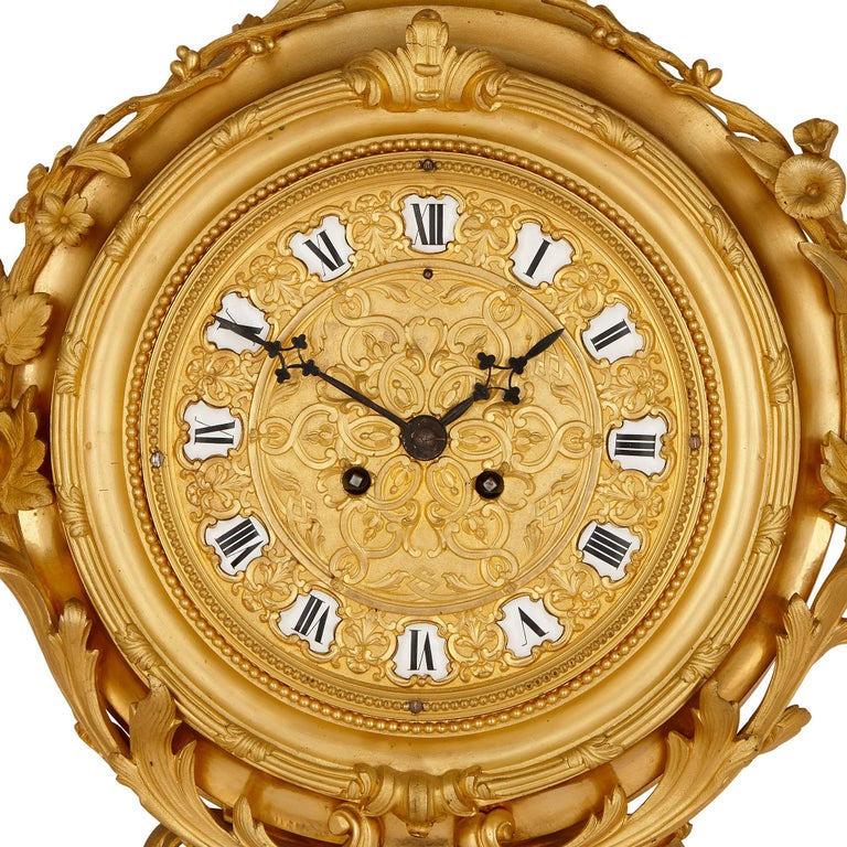 Napoleon III Period Gilt Bronze Clock and Barometer, Attributed to Raingo Frères In Good Condition For Sale In London, GB