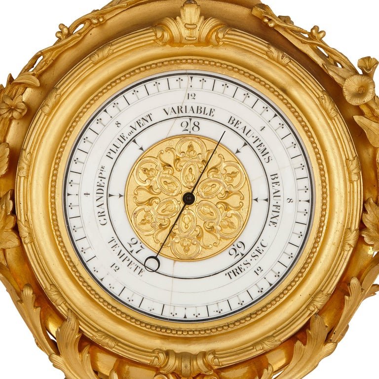 19th Century Napoleon III Period Gilt Bronze Clock and Barometer, Attributed to Raingo Frères For Sale