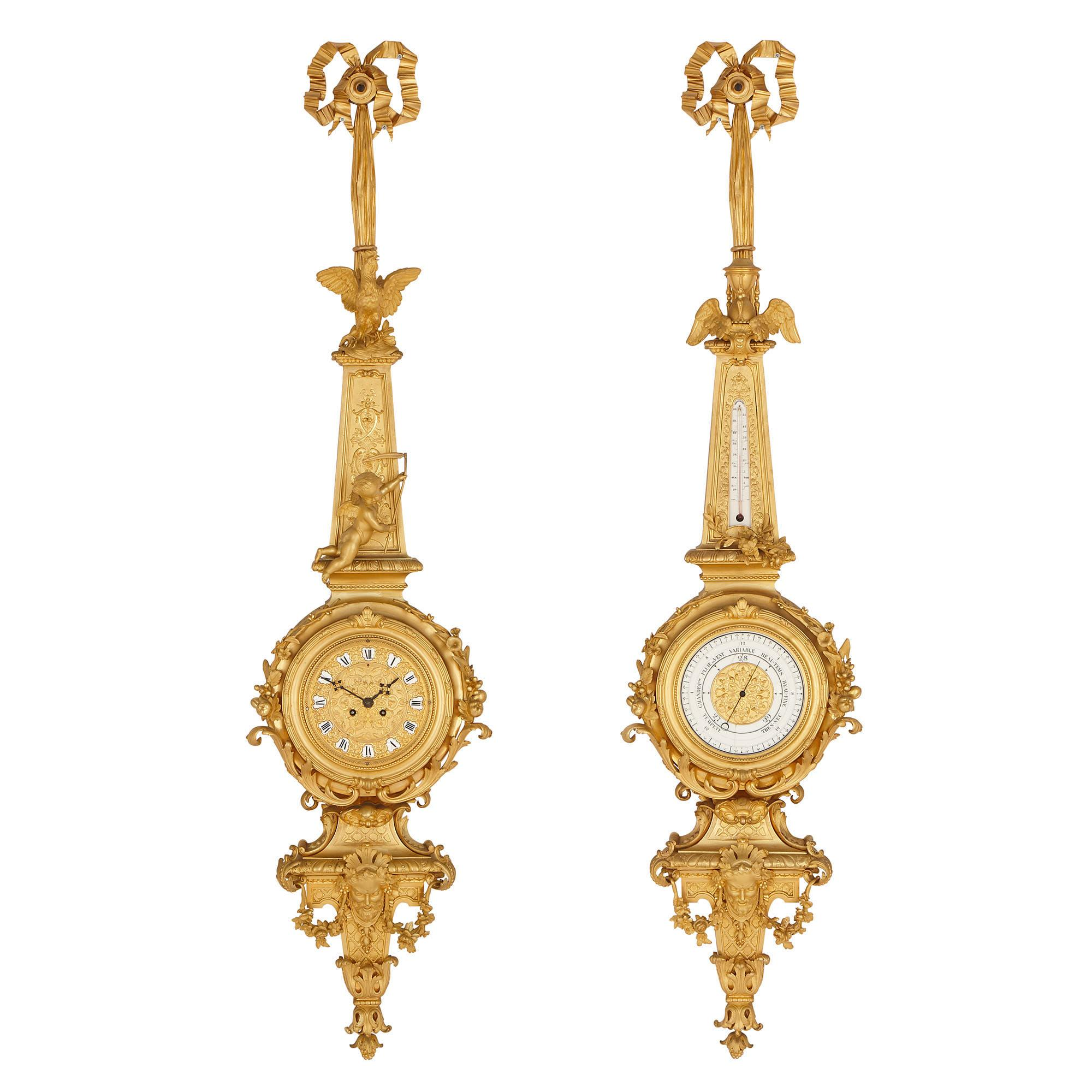 Napoleon III Period Gilt Bronze Clock and Barometer, Attributed to Raingo Frères