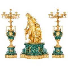 Napoleon III Period Neoclassical Malachite and Gilt Bronze Clock Set by Picard