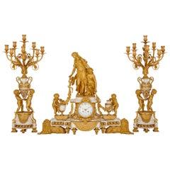 Napoleon III Period Neoclassical Style Clock Set by Raingo Frères