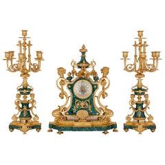 Napoleon III Period Neoclassical Style Three-Piece Clock Set