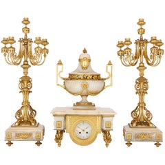 Napoleon III Period Onyx and Gilt Bronze Clock Set
