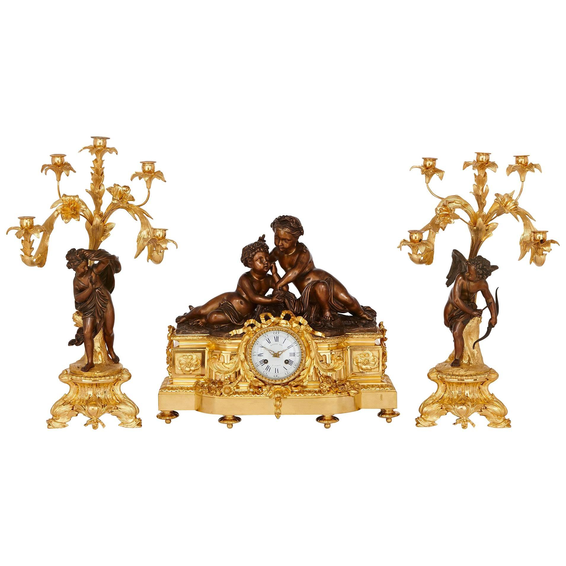 Napoleon III Period Ormolu and Patinated Bronze Clock Set by Picard