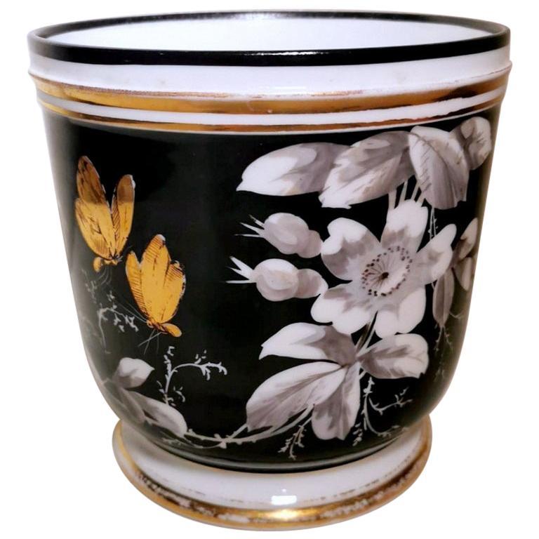 Napoleon III Porcelain De Paris French Cachepot Hand Painted