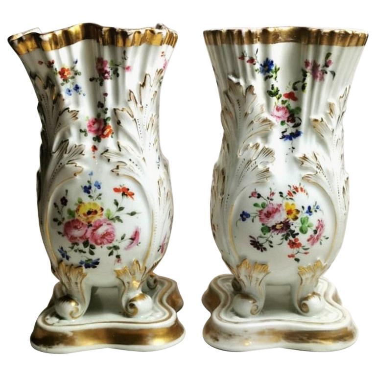Napoleon III Porcelain de Paris French Pair of Vases