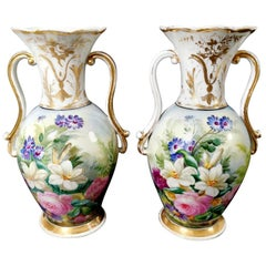 Napoleon III Porcelain de Paris French Pair of Vases Hand Painted