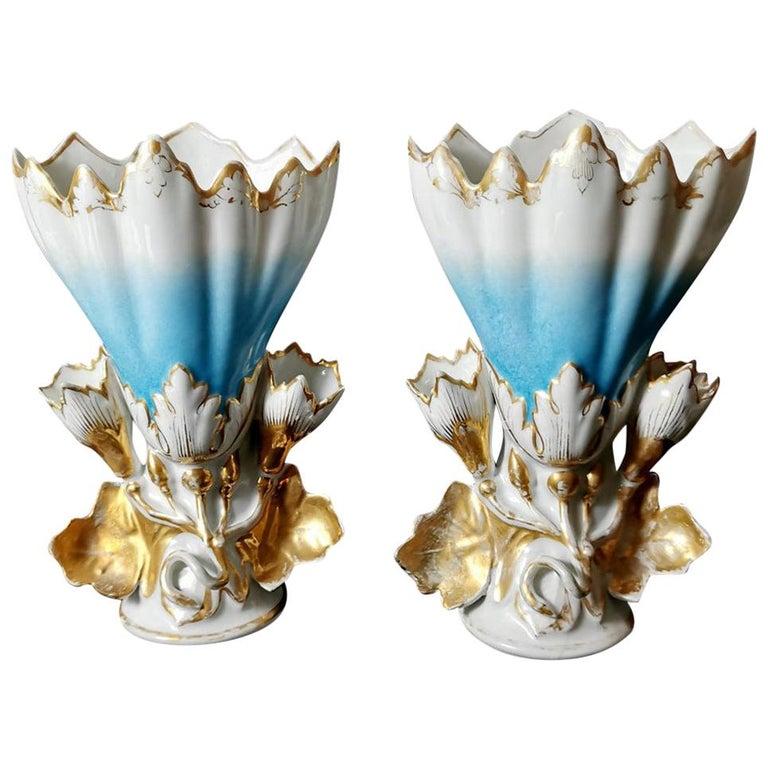 Napoleon III Porcelain De Paris Pair of French Wedding Vases for Church For Sale