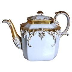 Napoleon III Porcelain De Paris Teapot with Pure Gold Decorations