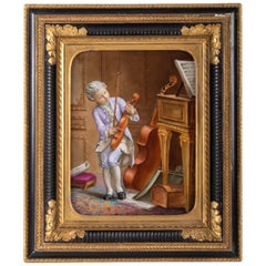 Napoleon III Porcelain Painting, 19th Century, Violin Player
