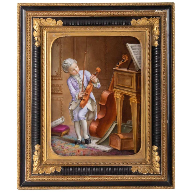 Napoleon III Porcelain Painting, 19th Century, Violin Player For Sale