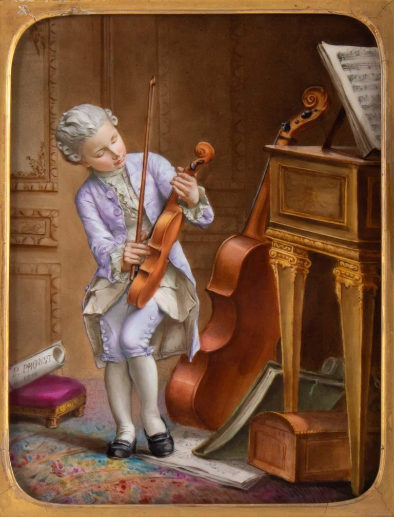 Painting Porcelain Epoque Napoleon III, 19th century, Violin Player, framing Epoque.  Porcelain plate: H 26cm, W 20cm, p 1cm  Framing: H 39cm, W 33cm, W 4cm.