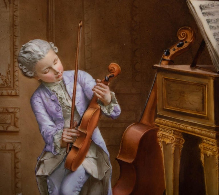 French Napoleon III Porcelain Painting, 19th Century, Violin Player For Sale