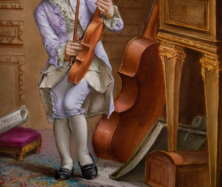 Painted Napoleon III Porcelain Painting, 19th Century, Violin Player For Sale
