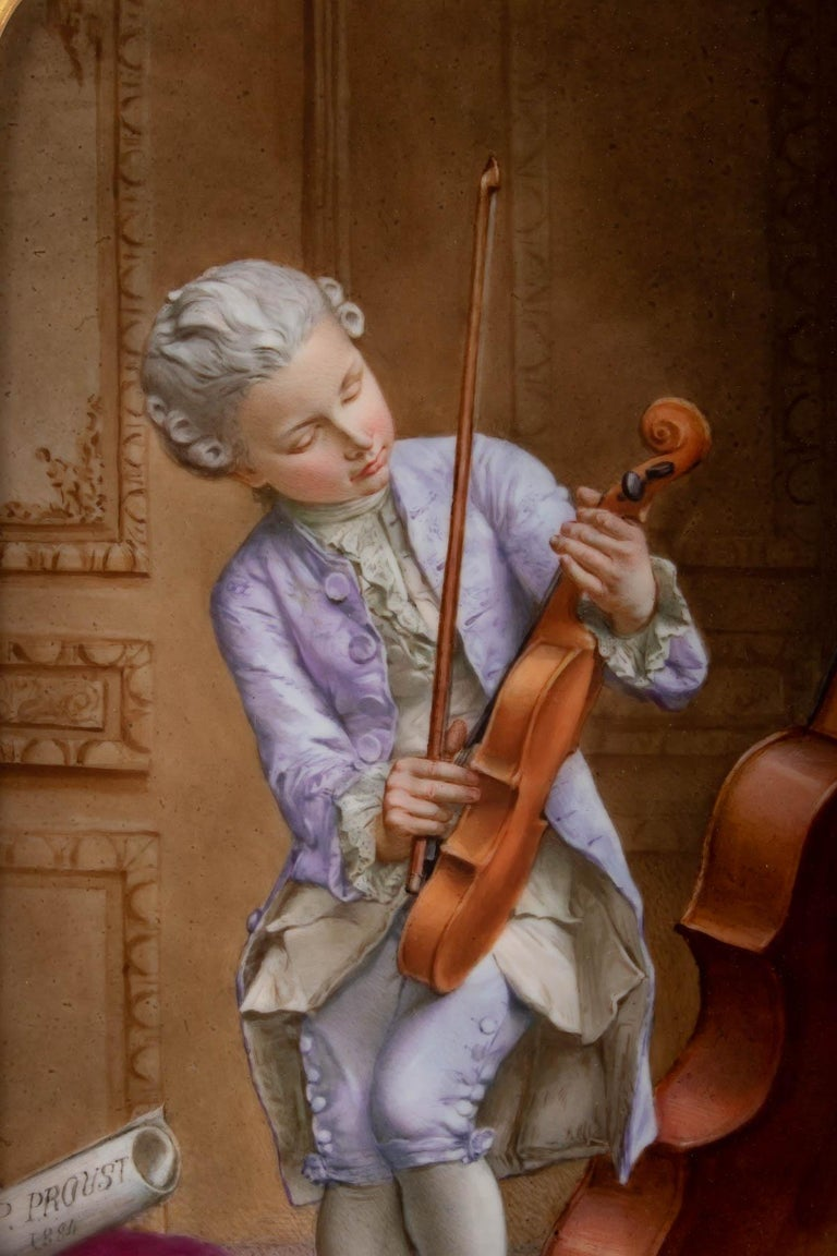 Napoleon III Porcelain Painting, 19th Century, Violin Player In Good Condition For Sale In Saint-Ouen, FR