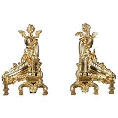 Napoleon III Rocaille-Style Ormolu Bronze Fireplace Andirons