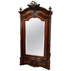 Napoleon III Rosewood and Burlwood Mirrored Armoire