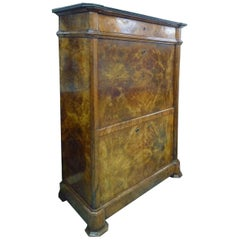 Napoleon III Secretaire French Fallfront 19th Century Figured Walnut Marble Top