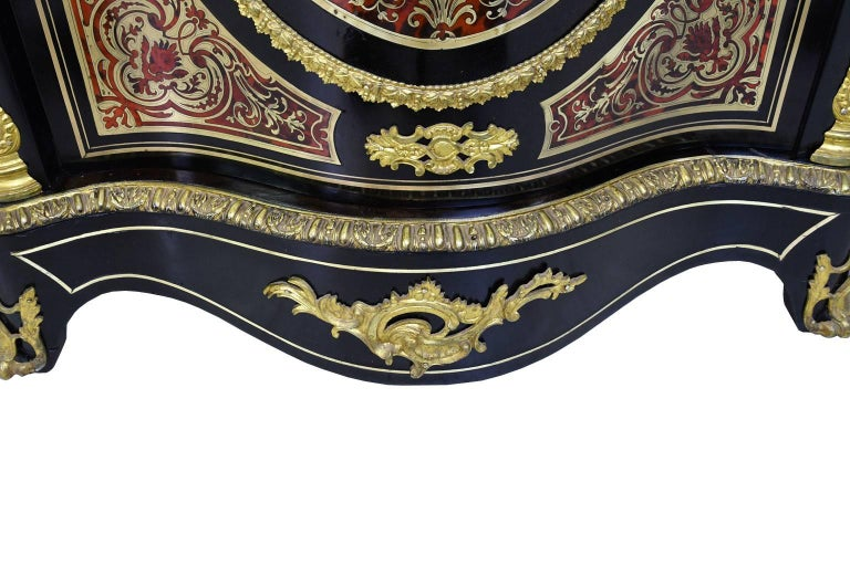 Napoleon III Serpentine-Front Boulle Cabinet w/ Inlays & Marble, France, c. 1880 For Sale 8