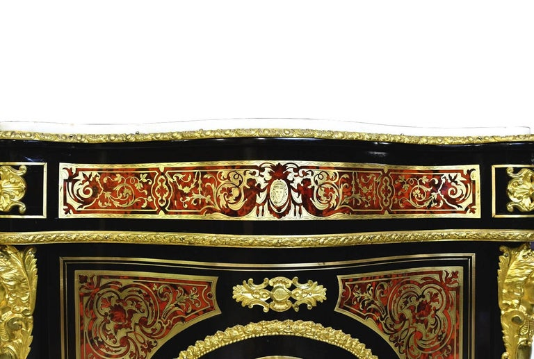 Napoleon III Serpentine-Front Boulle Cabinet w/ Inlays & Marble, France, c. 1880 For Sale 9