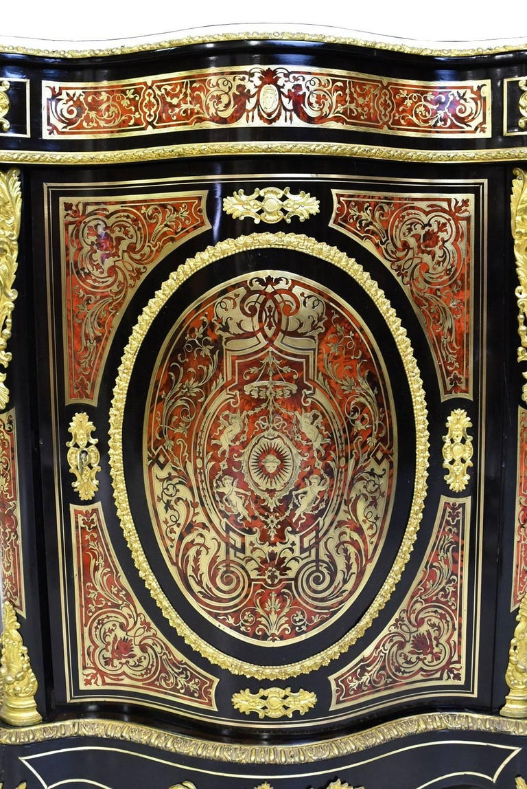 Napoleon III Serpentine-Front Boulle Cabinet w/ Inlays & Marble, France, c. 1880 In Good Condition For Sale In Miami, FL