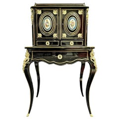 Napoleon III Sèvres Porcelain Boulle Marquetry Secretary, France 19th Century