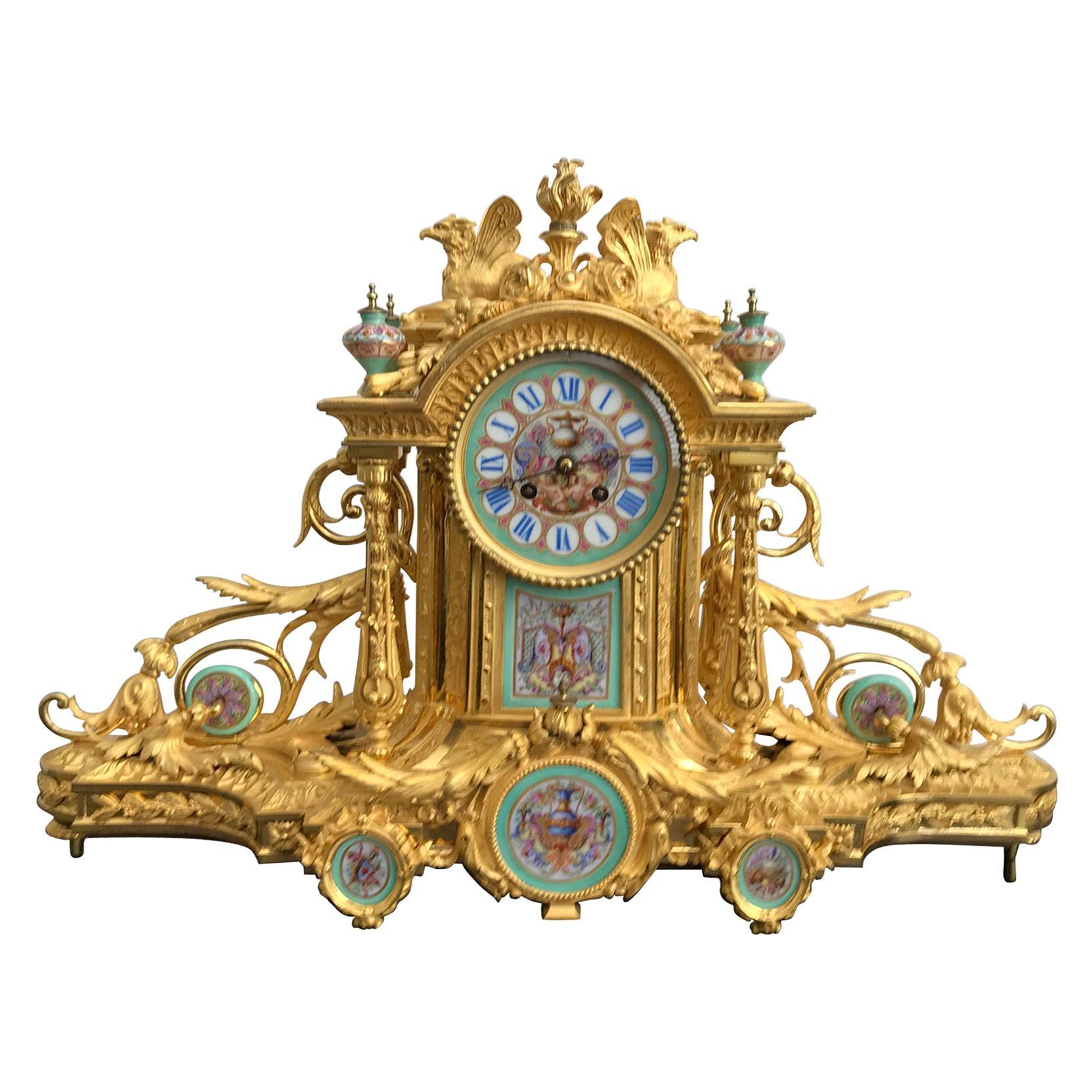 Napoleon III Sèvres Porcelain Mounted Gilt Bronze Mantel Clock, circa 1870