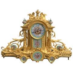 Napoleon III Sevres Porcelain Mounted Gilt Bronze Mantel Clock