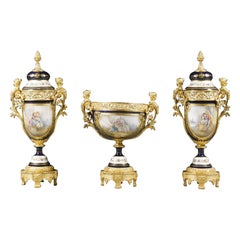Napoléon III Sèvres, Style Three-Piece Garniture Set, French, circa 1870