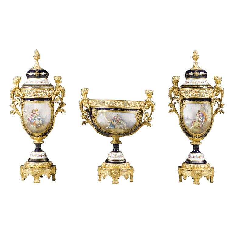Napoléon III Sèvres, Style Three-Piece Garniture Set, French, circa 1870 For Sale