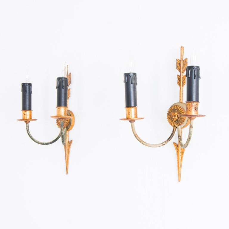 French Napoleon III Style Arrow Wall Sconces, a Pair