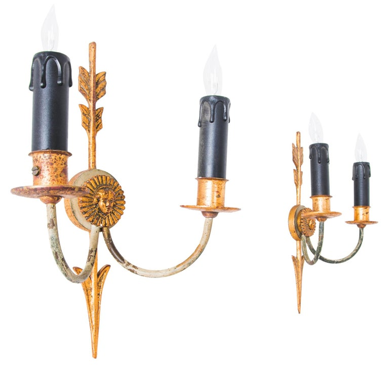 Napoleon III Style Arrow Wall Sconces, a Pair