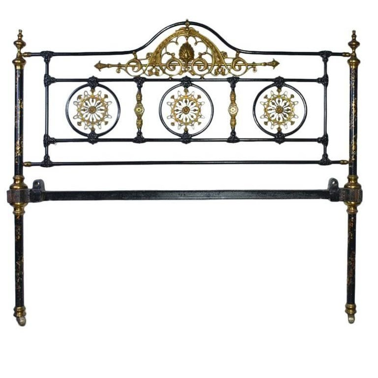 Napoleon III Style Brass and Iron Decorated Bed For Sale