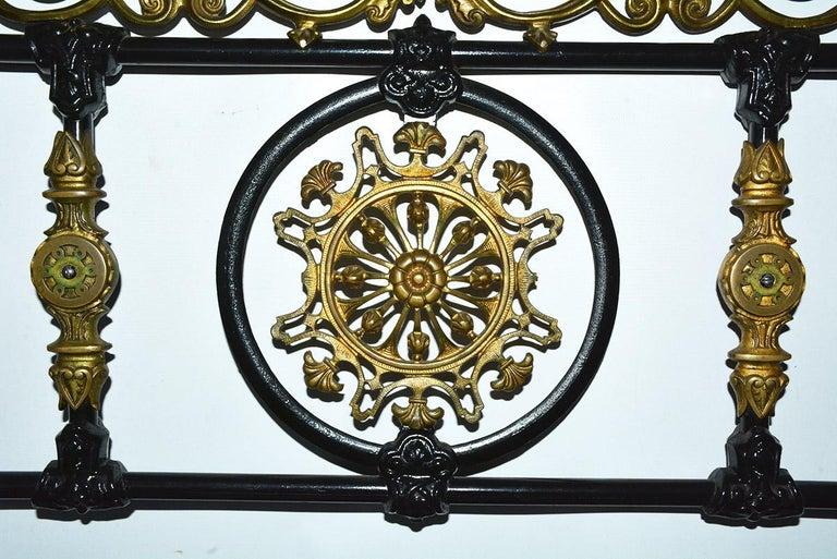 French Napoleon III Style Brass and Iron Decorated King Headboard For Sale