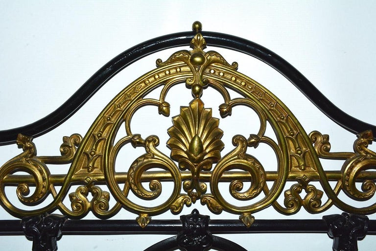 Painted Napoleon III Style Brass and Iron Decorated King Headboard For Sale