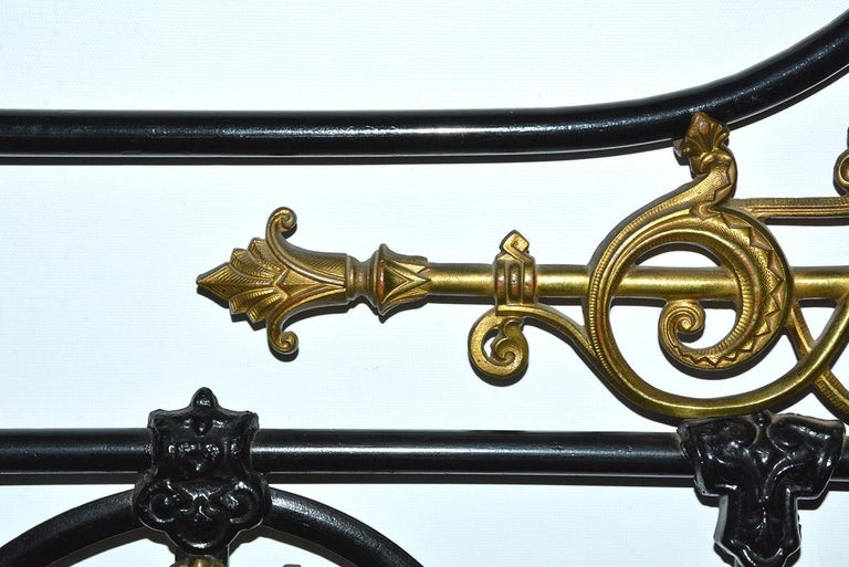 Napoleon III Style Brass and Iron Decorated King Headboard In Good Condition For Sale In Great Barrington, MA