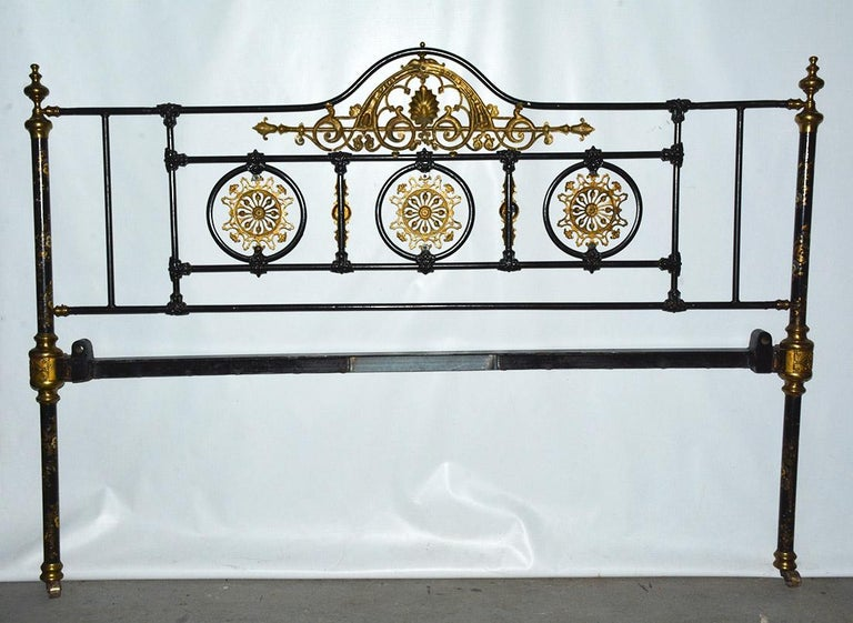 Napoleon III Style Brass and Iron Decorated King Headboard For Sale 1