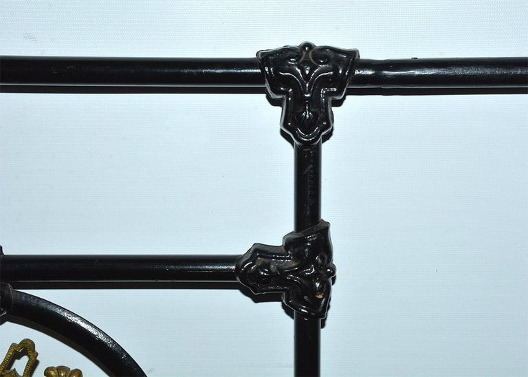 Napoleon III Style Brass and Iron Decorated King Headboard For Sale 2