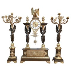 Napoleon III Style French Gilt Bronze & Patinated Three-Piece Clock Garniture