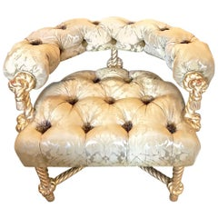 Napoleon III Style Gilt Rope Carved Chair in Diamond Tufting