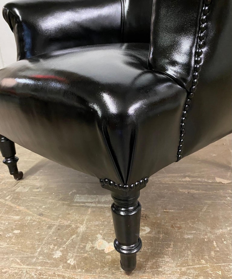 French Napoleon III Style Leather Upholstered Club Chair For Sale