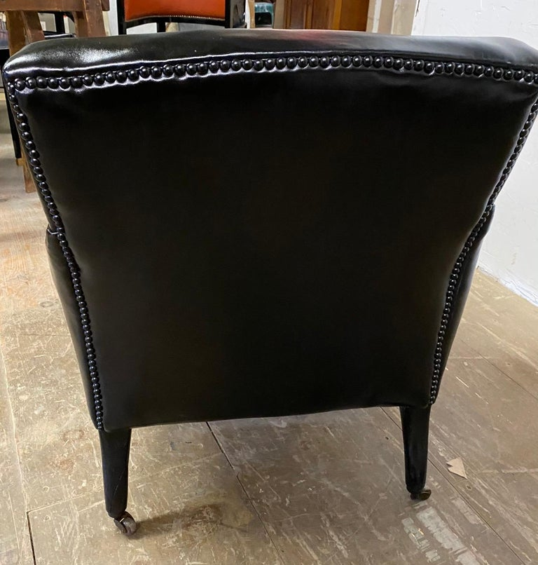 19th Century Napoleon III Style Leather Upholstered Club Chair For Sale
